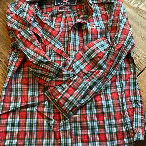 Vineyard Vines Boys Whale Shirt Button Up Long Sleeve Plaid Green Navy Sz S M